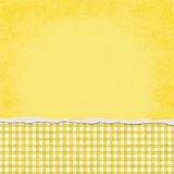 Square Yellow and White Gingham Torn Grunge Textured Background Royalty Free Stock Image