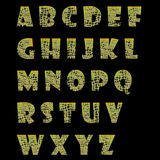 Squared alphabet. A green and complete alphabet with green squares inside each letter stock illustration