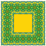 Squared background - ornamental floral pattern. Design for banda. Nna, carpet, shawl, pillow or cushion Royalty Free Stock Image