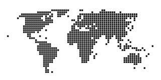 Squared black and white world map. Stylized squared black and white  world map Royalty Free Stock Image