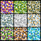 Squared blocks with bright geometric colorful triangles separate Stock Photo