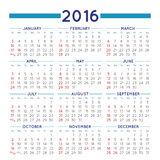 Squared 2016 calendar Royalty Free Stock Photos