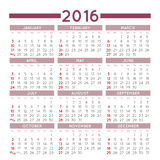 Squared 2016 calendar Stock Photography