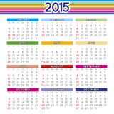 2015 squared calendar english. Multicoloured year 2015 calendar in english with United States festive days Stock Illustration