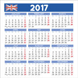 2017 Squared calendar english UK. 2017 elegant squared calendar english UK. Year 2017 calendar. Calendar 2017. File easy to edit and apply Royalty Free Stock Photos