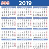 2019 Squared calendar english UK week starts on Monday Royalty Free Stock Photo