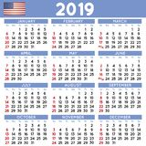 2019 Squared calendar english USA Stock Photos
