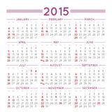 2015 squared calendar usa. 2015 elegant squared calendar. With USA festive days. File asy to edit and apply Royalty Free Illustration