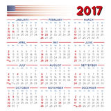 2017 Squared calendar USA festive. 2017 elegant squared calendar with USA festive days. Year 2017 calendar. Calendar 2017. File easy to edit and apply Royalty Free Stock Images