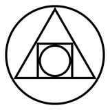 The Squared Circle, alchemical glyph and symbol Royalty Free Stock Photos