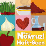 Squared Design with Elements for Traditional Table Setting in Nowruz, Vector Illustration. Poster with traditional and decorative elements for tabletop in Nowruz Stock Image
