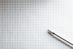 Squared Exercise Book with Pen Stock Photography