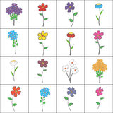Squared Floral Set Stock Photos