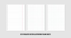 Squared and lined paper sheets of notebook or copybook. Vector realistic paper sheet of lines and squares notepad pages set vector illustration