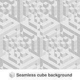Squared monochrome pattern. Seamless geometric texture in grey color. Black and white stylish tiles. 3d abstract dynamic backgroun. D created of cubes Stock Images