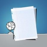 Squared paper & globe Stock Photo