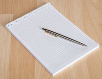 Squared paper loose-leaf note sheet and pen Royalty Free Stock Photography