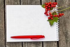 A squared paper notepad with a white spring with a red ball-point pen lies on a rough old gray wooden surface and has an. Autumn theme with a bunch of red Stock Images