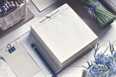 Squared Paper Notepad On Wooden Table. Stock Image