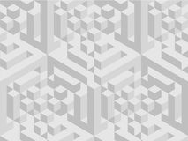 Squared pattern. Geometric texture in grey color. Effect stylish tiles. 3d abstract dynamic background created of cubes. Illustration Stock Photo