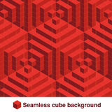 Squared pattern. Seamless geometric texture in red color. Effect stylish tiles. 3d abstract dynamic background created of cubes. Illustration Stock Photos