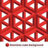 Squared pattern. Seamless geometric texture in red color. Effect stylish tiles. 3d abstract dynamic background created of cubes. Royalty Free Stock Images