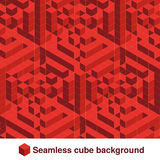 Squared pattern. Seamless geometric texture in red color. Effect stylish tiles. 3d abstract dynamic background created of cubes. Stock Photos