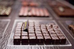 Squared pieces of chocolate royalty free stock images