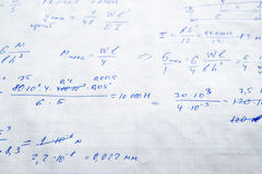 Squared sheet of paper filled with formulas Royalty Free Stock Photos