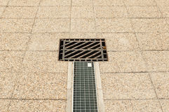 Squared water drainer or sewerage outside in park. Or sidewalk Stock Photo