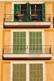 Squared windows with balcony Royalty Free Stock Photography