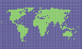 Squared world map. Stylized squared blue and green world map stock illustration