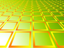Squares. Yellow squares over green background. abstract illustration Royalty Free Stock Images