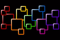 Squares. Black background with interconnecting squares in rainbow colors Stock Images