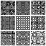 Squares black and white geometric seamless patterns set, vector Stock Photography