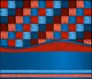 Squares blue red embroidery Royalty Free Stock Photos