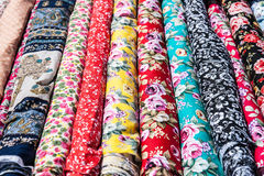 Squares of bright ornamental cloth Stock Photography