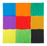 Squares on canvas. Colorful squares painted on canvas texture royalty free stock photos