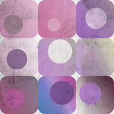 Squares and circles background. Grunge background of squares and circles in purple tones Stock Photography