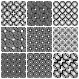 Squares and circles black and white geometric seamless patterns Royalty Free Stock Images