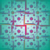 Squares and circles pattern green orange red violet purple centered blurred. Abstract geometric background multicolored. Squares and concentric circles pattern Stock Photos