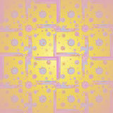 Squares and circles pattern pink violet purple yellow orange Royalty Free Stock Images