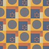 Squares and circles seamless pattern. Futuristic design, texture background, minimalism vector illustration