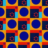 Squares and circles seamless pattern. Futuristic design, texture background, minimalism Royalty Free Stock Photography