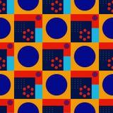 Squares and circles seamless pattern. Futuristic design, texture background, minimalism stock illustration