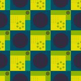 Squares and circles seamless pattern. Futuristic design, texture background, minimalism royalty free illustration