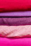 Squares of cloth of red and purple colors Royalty Free Stock Image