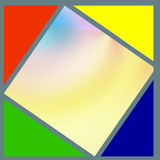 Squares. Colored squares and triangles are drawn gray line. Triangles are the basic colors. The square has a silk background Royalty Free Stock Photos