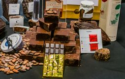 Squares of dark milk chocolate. Seoul, South Korea, January, 19, 2018: Squares of dark milk chocolate on display at the Seoul Salon of Chocolate exhibition at Stock Image