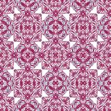 Squares and Diamonds Boho Seamless Pattern. Digital collage technique square and diamonds ornate seamless pattern design in pink and cyan tones against white royalty free illustration
